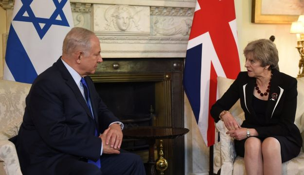 Britain's Prime Minister Theresa May meets Israel's Prime Minister Benjamin Netanyahu in 10 Downing Street, London November 2, 2017.
