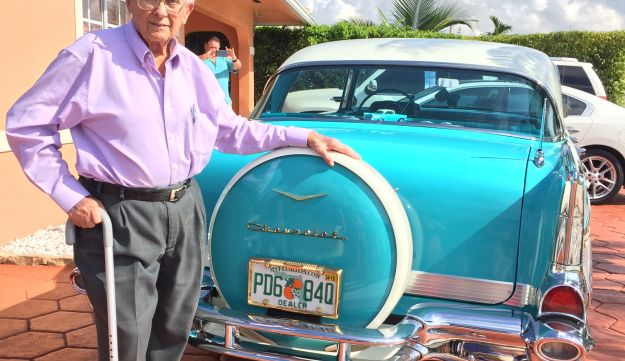 Barough Zarco, reunited with a replica of the 1957 Bel Aire that he left at the airport in Havana. He died two weeks later.