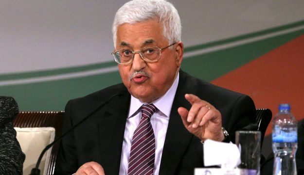 Palestinian President Mahmoud Abbas addressing Fatah members during the party conference in Ramallah, November 30, 2016.
