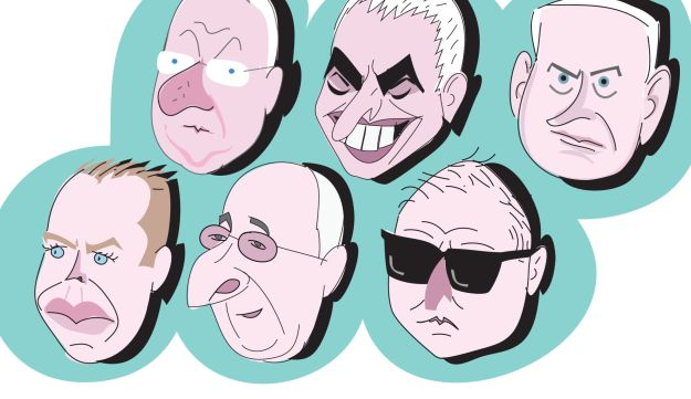 And illustration of the heads of Reuven Rivlin, Moshe Kahlon, Benjamin Netanyahu, Gilad Erdan, Isaac Molho and David Shimron.