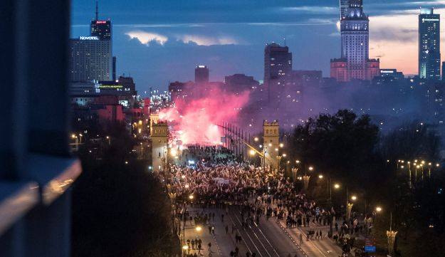 Protesters march during a rally, organised by far-right, nationalist groups, to mark 99th anniversary of Polish independence in Warsaw, Poland November 11, 2017.