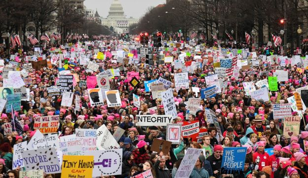Hundreds of thousands march down Pennsylvania Avenue during the Women's March in Washington D.C., January 21, 2017.