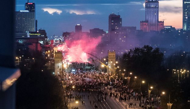 Protesters march during a rally, organised by far-right, nationalist groups, to mark 99th anniversary of Polish independence in Warsaw, Poland November 11, 2017
