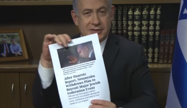 Netanyahu during his video address to the Jewish Federations of North America.
