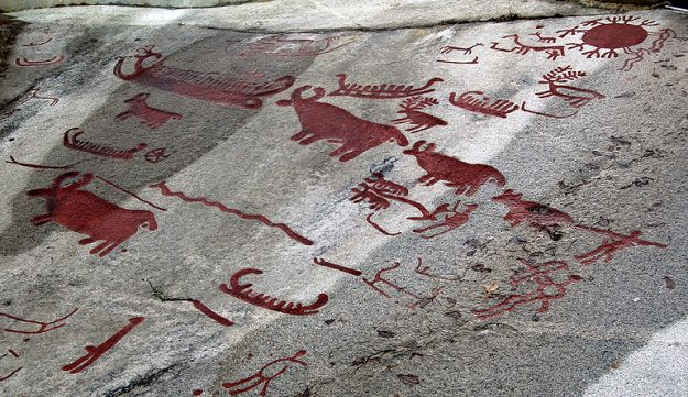 Rock art depictions of bulls and ships dated to 1600-1400 BCE, from Tanum & Kville, in Bohuslän, western Sweden.
