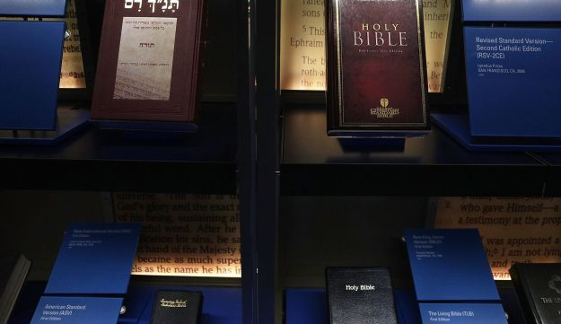 Different versions of Bible are on display at Museum of the Bible November 15, 2017 in Washington, DC