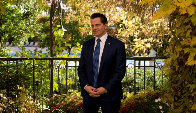 """Former White House communications director Anthony Scaramucci poses for a photograph after an interview with the Associated Press in Jerusalem, Monday, Nov. 20, 2017. Scaramucci told The Associated Press on Monday that although he has not spoken to Donald Trump in over a month, he talks to the president's inner circle """"regularly"""" and considers himself a media """"surrogate"""" for the administration. (AP Photo/Ariel Schalit)"""