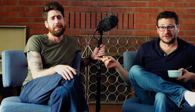 "Actor Adam Goldberg, left, with Jonathan Kesselman, writer and director of ""The Hebrew Hammer"" (2003)."