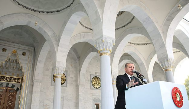 Turkish President Tayyip Erdogan speaks during the opening ceremony of a mosque in Ankara, Turkey, October 27, 2017