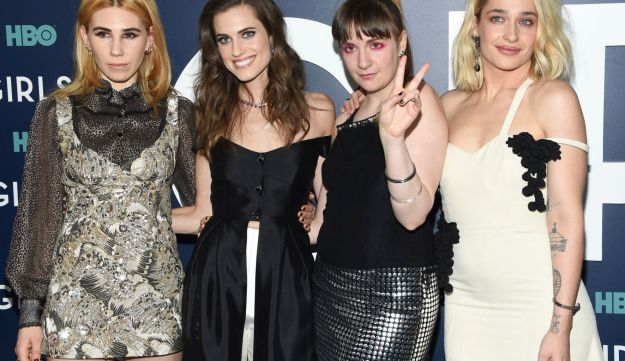 """Actresses Zosia Mamet, left, Allison Williams, Lena Dunham and Jemima Kirke pose together at HBO's """"Girls"""" sixth and final season premiere at Alice Tully Hall on Thursday, Feb. 2, 2017, in New York."""