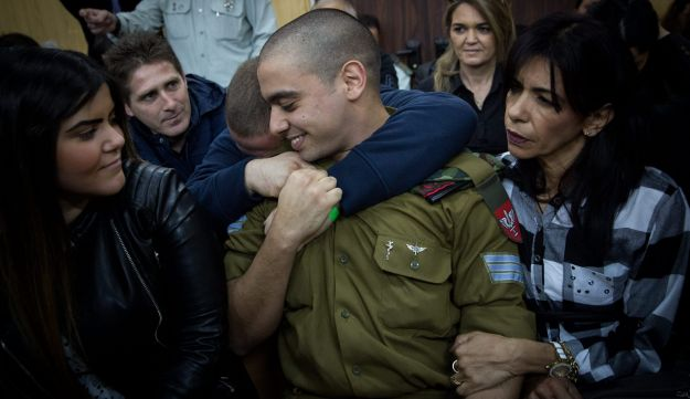 Soldier Elor Azaria in military court, shortly after he was convicted of manslaughter.
