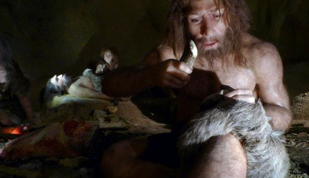 An exhibit showing the life of a neanderthal family in a cave, at the Neanderthal Museum in the Netherlands.