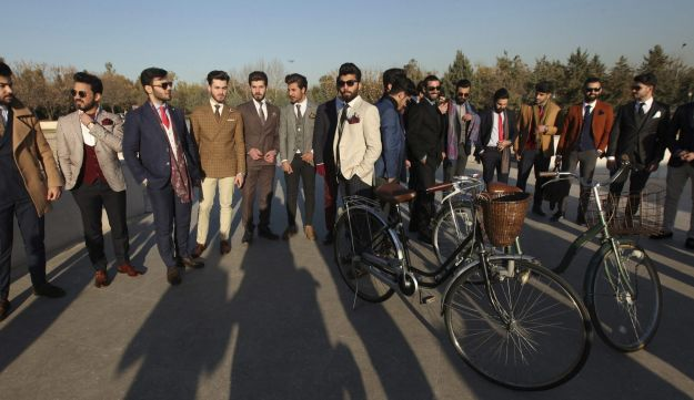 """Members of """"Mr Erbil"""", a group consisting of young fashionable Kurdish men, pose in Erbil, Iraq February 4, 2017."""