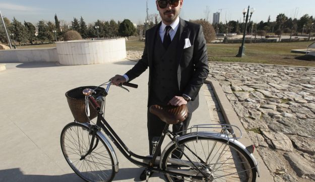 """A member of """"Mr Erbil"""", a group consisting of young fashionable Kurdish men, poses in Erbil, Iraq February 4, 2017."""