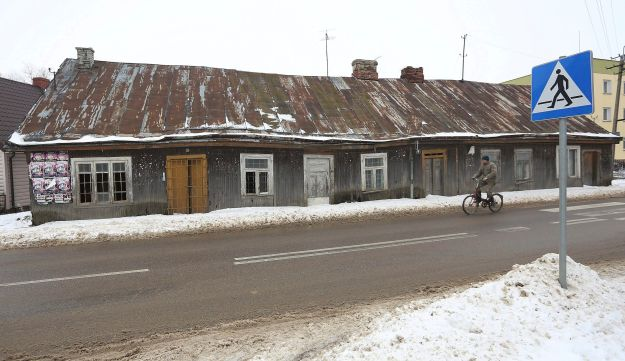 A cyclist rides in Kobylin-Borzymy, eastern Poland, Feb. 13, 2017.