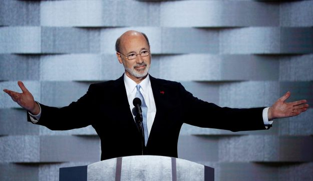 Pa. Gov. Tom Wolf speaking at the Democratic Party's convention in Philadelphia on July 28, 2016.