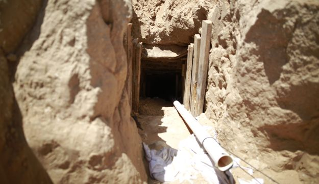 A Hamas attack tunnel leading from the Gaza Strip into Israel, which the Israeli army discovered, May 6, 2016.