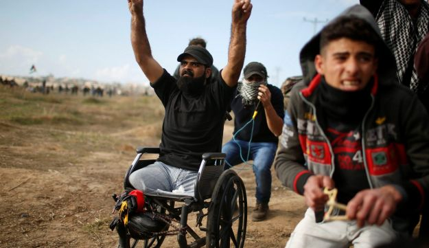 Wheelchair-bound Palestinian demonstrator Ibrahim Abu Thuraya, who according to medics was killed later on Friday during clashes with Israeli troops near the Gaza border, December 15, 2017.