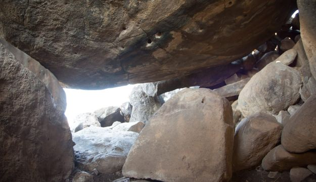 The view from inside the complex dolmen's main chamber.