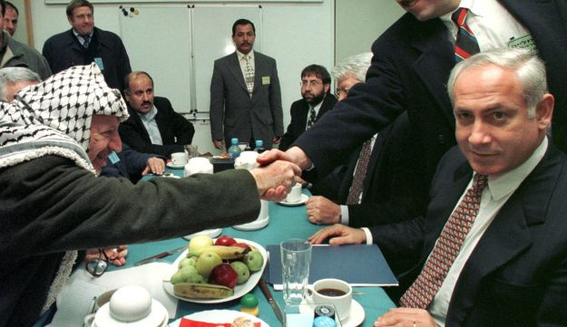 Netanyahu meeting Yasser Arafat in the Gaza Strip, 1997.