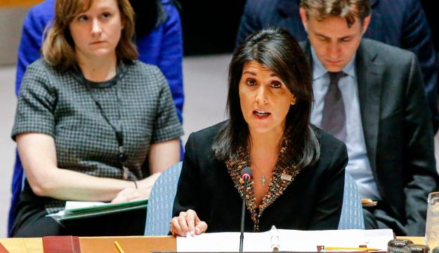 U.S. Ambassador to the UN Nikki Haley speaks during a Security Council session, December 18, 2017.