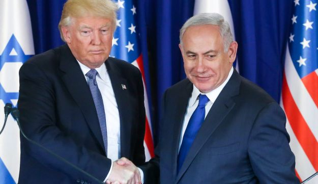 U.S. President Donald Trump with Prime Minister Benjamin Netanyahu at a press conference in Israel on November 29, 2017.
