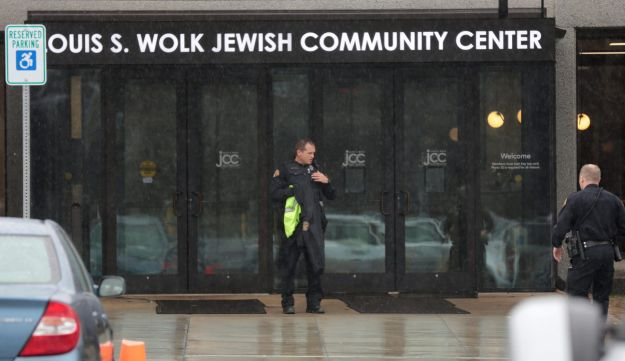 Police search a Jewish Community Center after a bomb threat was reported in the Rochester suburb of Brighton, New York, U.S., March 7, 2017.