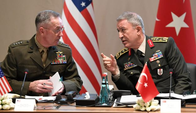 Turkey's Chief of Staff General Hulusi Akar meets with U.S. Chairman of the Joint Chiefs of Staff Joseph Dunford in Antalya, Turkey, March 7, 2017.
