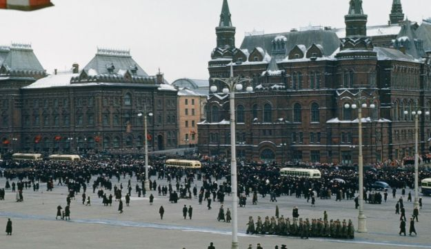 Funeral of Joseph Stalin, caught on camera by U.S. assistant army attaché Major Martin Manhoff from the U.S Embassy balcony.