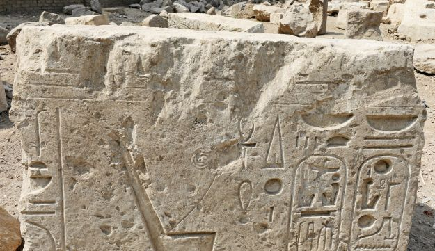 A part of an ancient Egyptian obelisk unearthed on Thursday is seen in the Matariya area in Cairo, Egypt, March 9, 2017.