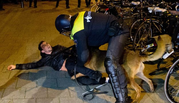 A Dutch riot policeman tries to get his dog to let go of a man after riots broke out during a pro Erdogan demonstration at the Turkish consulate in Rotterdam, Netherlands, Sunday, March 12, 2017.
