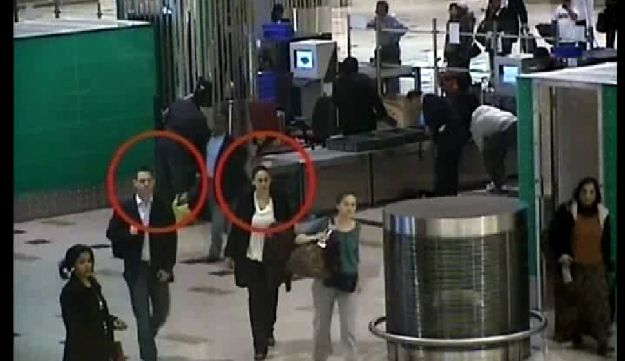 An image grab taken from a video released by Dubai police on February 24, 2010 allegedly shows two suspects in last month's murder of top Hamas militant Mahmud al-Mabhuh, at the airport in the Gulf emirate. Pressure mounted on Israel on February 25 as Australia became the latest country seeking answers over the use of Western passports in the Dubai killing by suspected Mossad agents of a top Hamas militant.