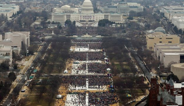 An aeriel shot of the Trump inauguration, January 20, 2017. If you look closely, you can probably make out Rabbi Marvin Hier.