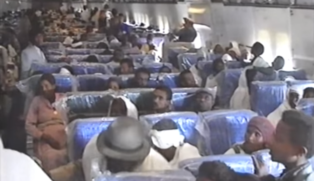 New Ethiopian immigrants on The EL AL Jumbo, en route from Addis Ababa to Israel during Operation Solomon