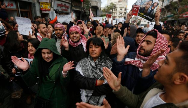 Palestinians rally for the resignation of Palestinian President Mahmoud Abbas, Ramallah, West Bank, March 13, 2017.
