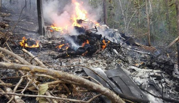 Fire at the site where a plane crashed in Costa Rica, on December 31, 2017 in this picture obtained from social media.