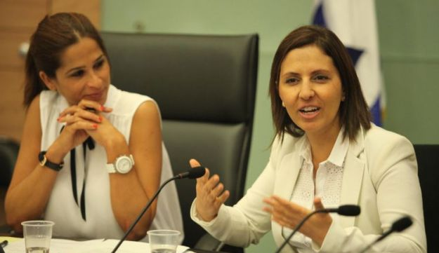 Social Equality Minister Gila Gamliel, right, in the Knesset.