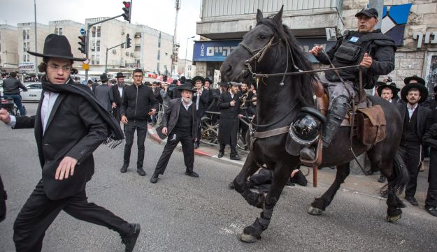 Ultra-Orthodox Jews protest against the military draft, Jerusalem, March 2017.