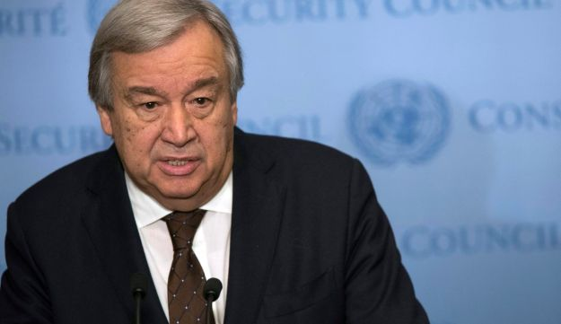 United Nations Secretary-General Antonio Guterres speaks to reporters during a news conference, Wednesday, Feb. 1, 2017 at United Nations headquarters.