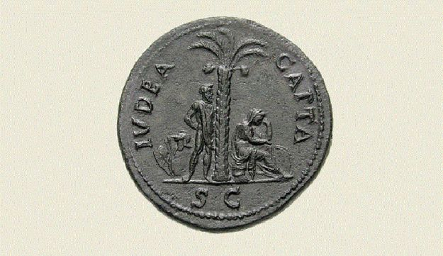 Ancient Roman coin minted to commemorate the Roman victory over Judea, portraying Rome as a virile male and Judea as a weeping woman. The legend reads: 'Judea Capta'.
