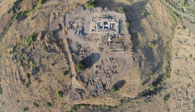 An aerial view of the ancient Roman site of Omrit, north of the Hula Valley.