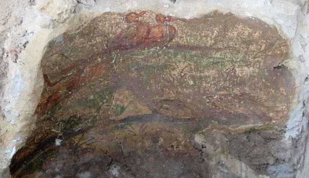 Painted fresco wall with two ducks nestling. Discovered inside the water installation, possibly a fountain