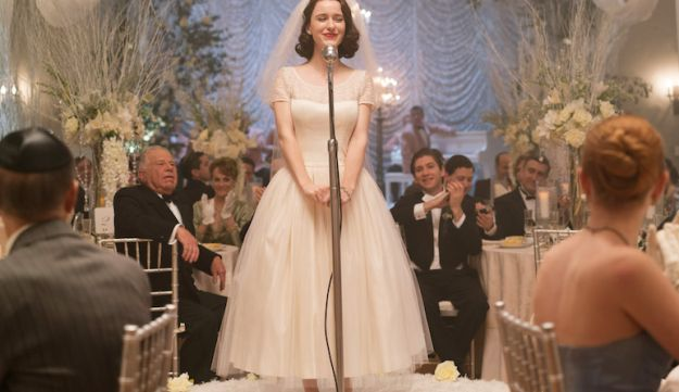 Midge speaks at her wedding.