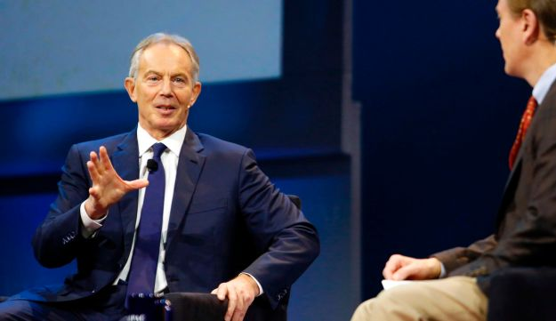 Former British Prime Minister Tony Blair speaks during a the AIPAC conference in Washington, March 26, 2017.