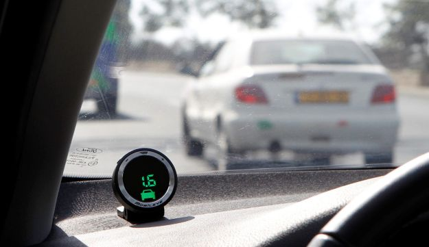 Part of the Mobileye driving-assist system on the dashboard of a vehicle in Jerusalem.