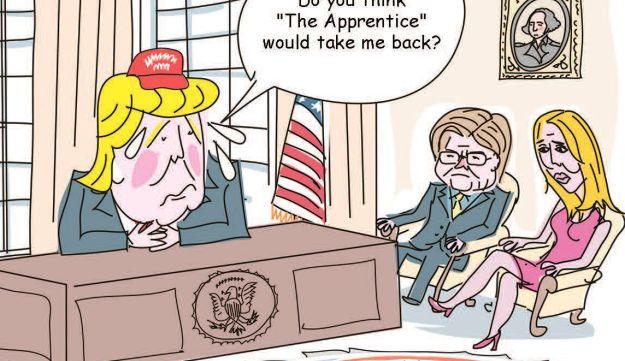 """In this cartoon, Trump talks to his advisers Bannon and Conway. """"Do you think 'The Apprentice' would take me back?"""" he asks."""