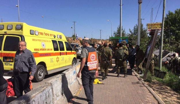 Scene of suspected car-ramming attack in Ofra in the West Bank that left at least one Israeli dead. April 6, 2017.