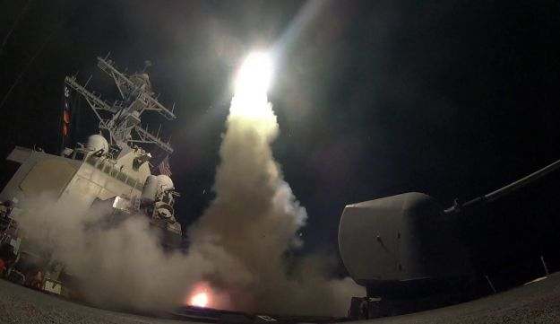 A Tomahawk missile being fired from the USS Porter at an Assad regime air base in Syria, April 7, 2017.