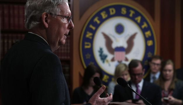 Senate Majority Leader Sen. Mitch McConnell (R-KY) speaks during a news conference at the Capitol April 7, 2017 in Washington, DC after Senate votes to confirm President Donald Trump's Supreme Court nominee Neil Gorsuch.