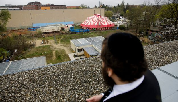 On Monday April 3, 2017 Teichtal looks down from a roof top to the area with a temporary circus tent, where he is planing to build the Jewish campus.